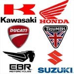 A montage of OEM logos including Kawasaki, Honda, Ducati, Triumph, EBR Motorcycles, and Suzuki.